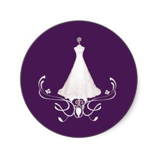 Wedding Dress purple envelope sticker