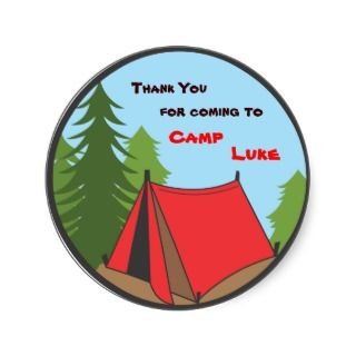 Boy Camping Birthday Party Favor Sticker