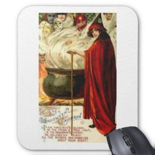 Halloween Caldron   Ghost and Goblin Poem Mouse Pads