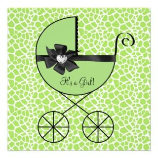 Carriage Black Green Giraffe Baby Girl Shower Personalized Invitations