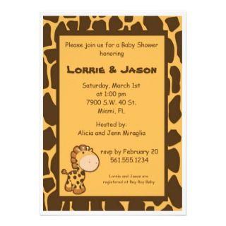 Baby Giraffe Baby Shower Invitations