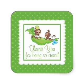Sweet Little Monkey Twins Thank You Baby Shower Sticker