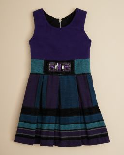 Girls Geometric 2fer Beaded Waist Dress   Sizes 7 16