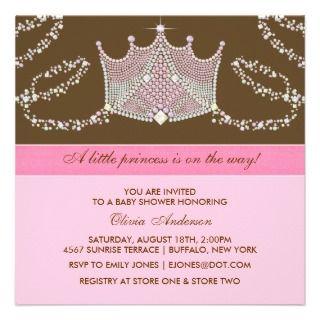 Elegan Pink Brown Baby Girl Princess Baby Shower Personalized