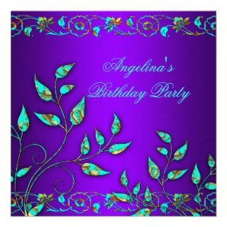 Purple Teal Blue Gold Floral Birthday Party Personalized Invites
