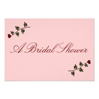 Bridal Shower   Two Red Long Stem Roses Personalized Announcements