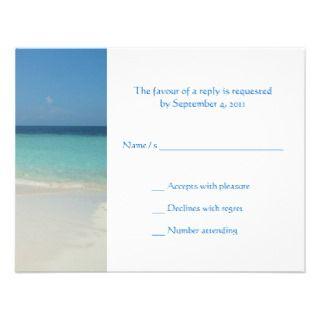 Beach Wedding Invitiation RSVP Custom Invitations