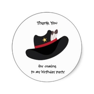 Thank You Cowboy Birthday Party Gift Tag Sticker