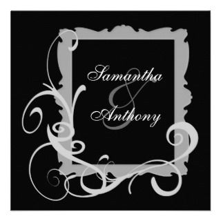 Black with White Swirl Frame Wedding Invitations