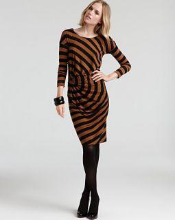 Sonia Rykiel Long Sleeve Side Ruched Striped Jersey Dress