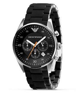 Emporio Armani Round Watch with Black Strap, 43 mm