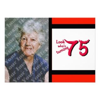 Red Bubble Letter 75th Birthday Celebration Custom Announcements