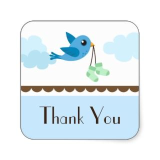 Boys blue bird baby shower thank you stickers