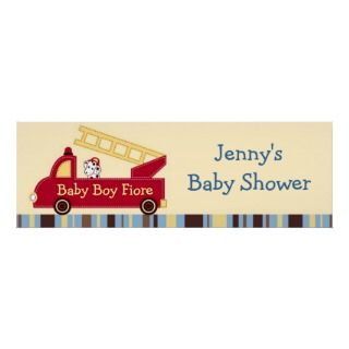 Engine 27 Fire Truck Puppy Baby Shower Banner Sign posters by little
