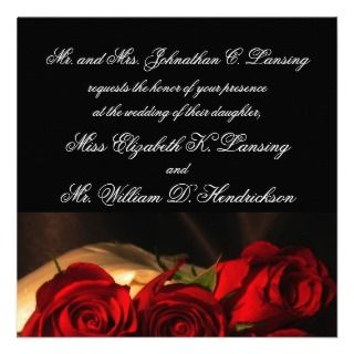 Crimson Rose Bouquet (a) Custom Invite