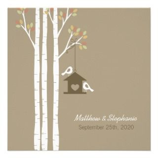 Birdhouse in Autumn Birch Trees Custom Invitation
