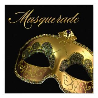 Black and Gold Classic Masquerade Party Personalized Invite