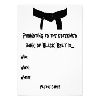 Martial Arts Black Belt Promotion Test Invitation