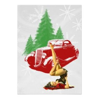 Hot Rod and Pin Up Christmas Personalized Invitation