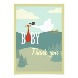 cute vintage baby shower thank you card