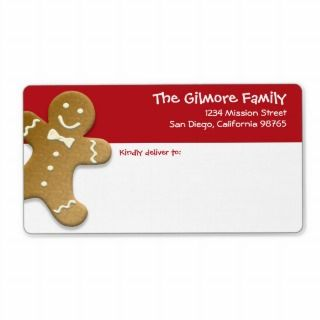 Gingerbread man cookie red fun holiday shipping personalized shipping