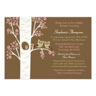 Owl Nest in a Spring Tree Custom Invitations