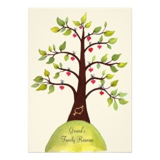 5x7 Family Reunion Watercolor Heart Tree Invite