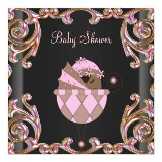 invitation pink black baby shower invitations african american baby