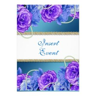 Aqua blue elegant floral rose invitation