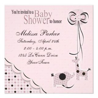 Poka Dots in Pink Baby Shower Invitiation Announcements