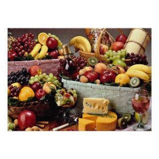 Fruit baskets, mixed fruit and cheeses custom announcement