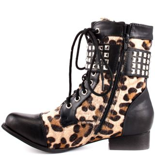 Color Wild Child Combat Boot   Leopard for 89.99