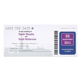 Washington DC Save the Date Boarding Pass Invitations