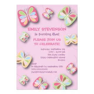 Butterfly Birthday Party Invitation Pink & Purple