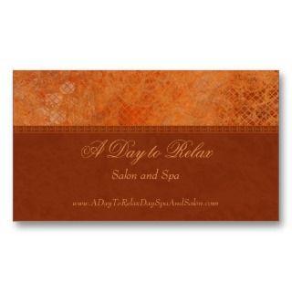Trendy burnt orange salon spa custom business card