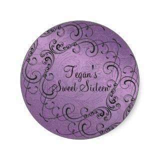Purple Swirl Design Sweet 16 Envelope Sticker by MySuperSweet16th