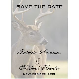 Hunter Hunting Whitetail Buck Animal Wedding Personalized Announcement