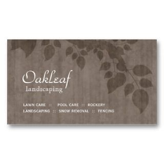 Landscaping Business Card Beige Tree Leaves