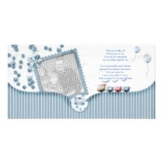 Blue Baby shower Thank You Photo Card baby