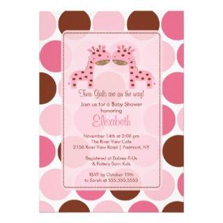 Twin Girls Pink Giraffe Baby Shower Invitation
