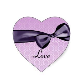 Purple LOVE Wedding Bow PINK Damask Heart Sticker