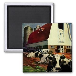 Vintage Business, Dairy Farm w Holstein Milk Cows Refrigerator Magnet