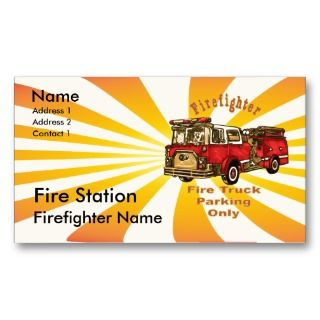 Firefighter Fire Truck Parking Business Card Templates