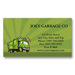 Garbage Truck Business Cards, 28 Garbage Truck Business Card Templates