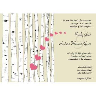 Honeysuckle Hearts Birch Tree Wedding Invitations invitation