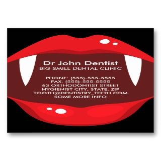 Funny vampire teeth dental, dentist business card