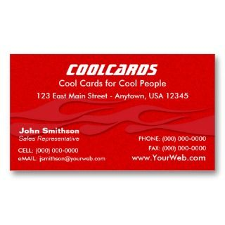 Red Metal Flake (simulated) Flames Business Card