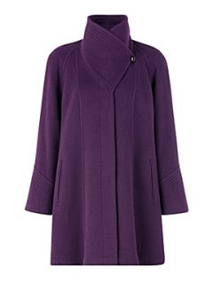 Jacques Vert Plum funnel neck car coat Purple