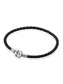 Pandora Black Single Woven Leather 19cm Bracelet