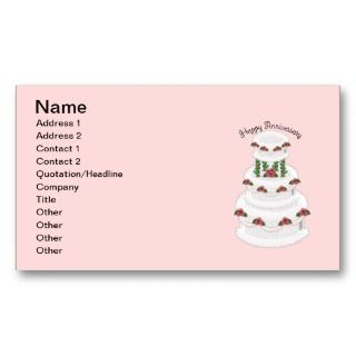 021 Happy Anniversary wedding cake cartoon pink Business Card Template